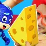¡Los Héroes en pijama están cocinando! Recetas con queso de los Juguetes PJ Masks. Cocina para niños