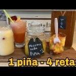 4 recetas con 1 piña/ frappe, mermelada y té. Natural y saludable! Té para bajar peso y glucosa
