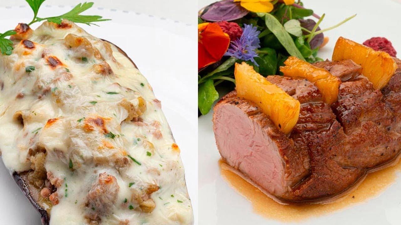 Berenjenas rellenas de carne y queso - Solomillo de cerdo con piña - Cocina Abierta