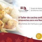 Brocheta de merluza y gambas Recetas para una Navidad diferente Taller cocina para enfermos renales