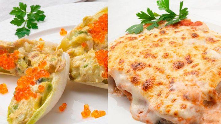 Endibias rellenas de ensaladilla - Canelones de espinacas y piñones - Cocina Abierta