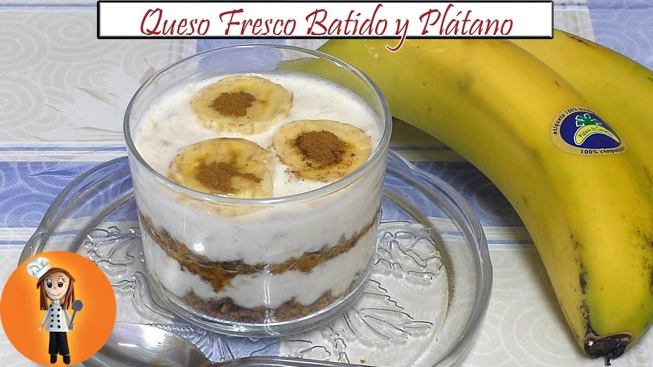 Postre de Queso Fresco Batido y Plátano | Receta de Cocina en Familia