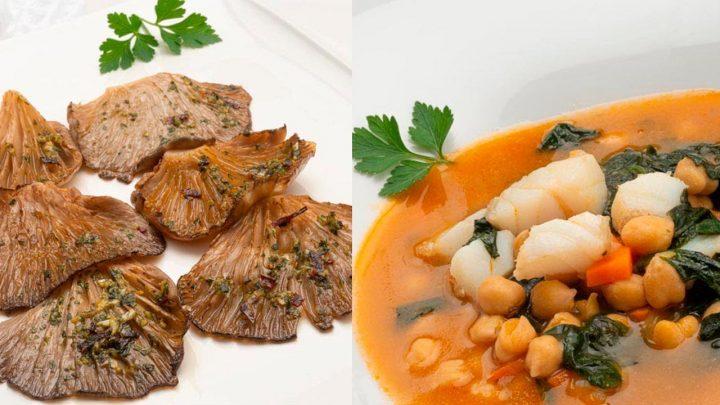 Setas al horno - Garbanzos con bacalao y espinacas - Cocina Abierta de Karlos Arguiñano