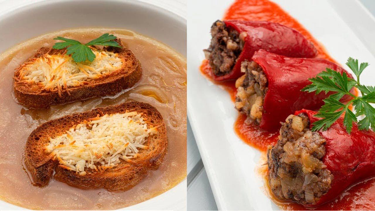 Sopa de cebolla y queso - Pimientos rellenos de morcilla - Cocina Abierta de Karlos Arguiñano