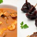 Sopa de pescado con berberechos - Piruletas de codorniz con salsa teriyaki - Cocina Abierta