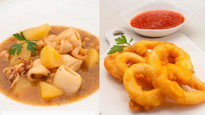 Calamares con garbanzos - Rabas con salsa picante - Cocina Abierta de Karlos Arguiñano