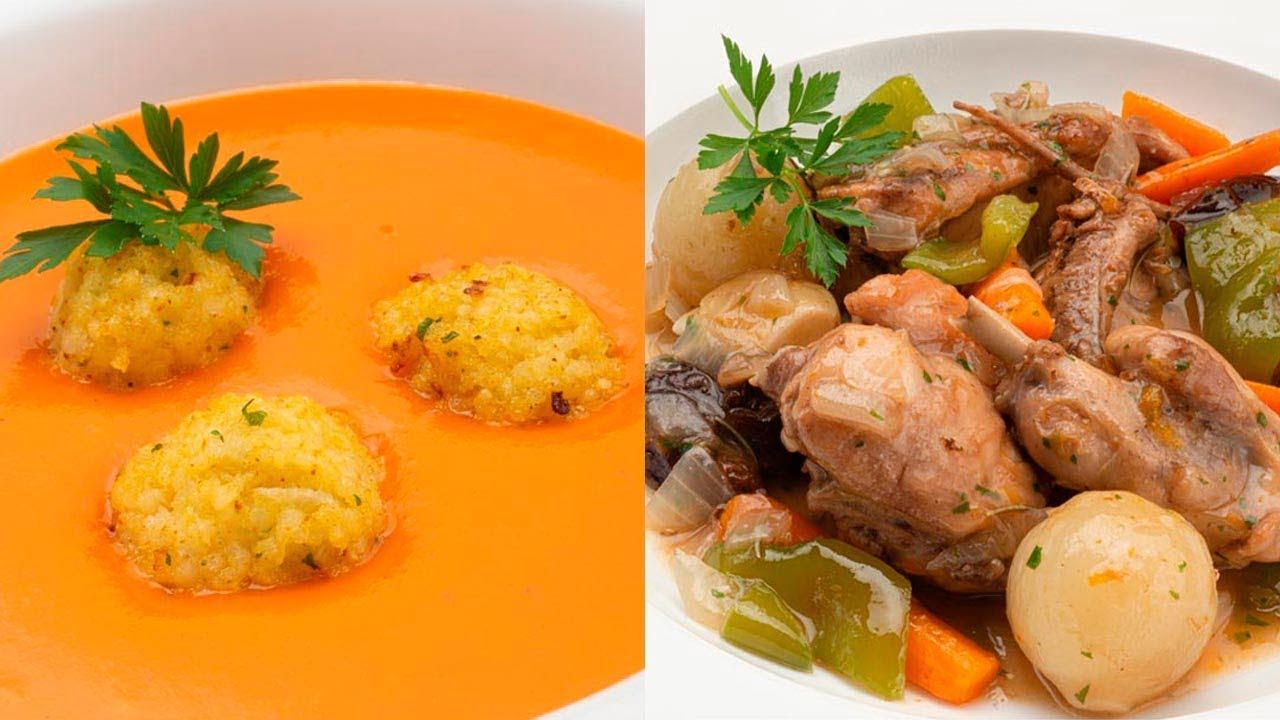 Crema de calabaza y naranja con bocados de mijo - Conejo guisado con ciruelas - Cocina Abierta