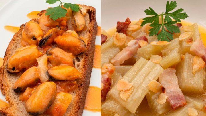 Mejillones en escabeche - Cardo con panceta y salsa de almendra - Cocina Abierta de Karlos Arguiñano
