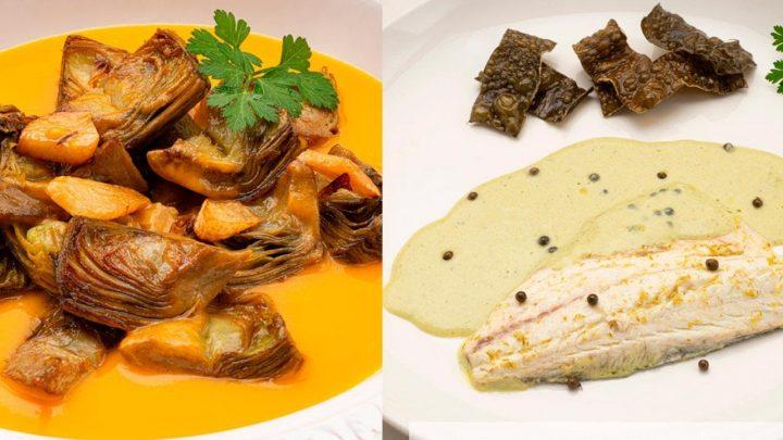 ALCACHOFAS con crema de calabaza - LUBINA a la pimienta verde - Cocina Abierta de Karlos Arguiñano