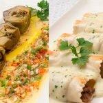 Alcachofas con vinagreta de mostaza - Canelones de morcillo y setas - Cocina Abierta