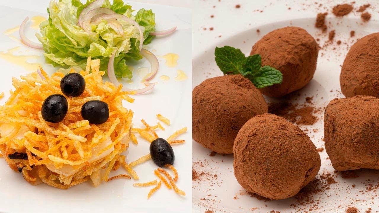 Bacalao dorado con ensalada - Trufas de chocolate - Cocina Abierta de Karlos Arguiñano