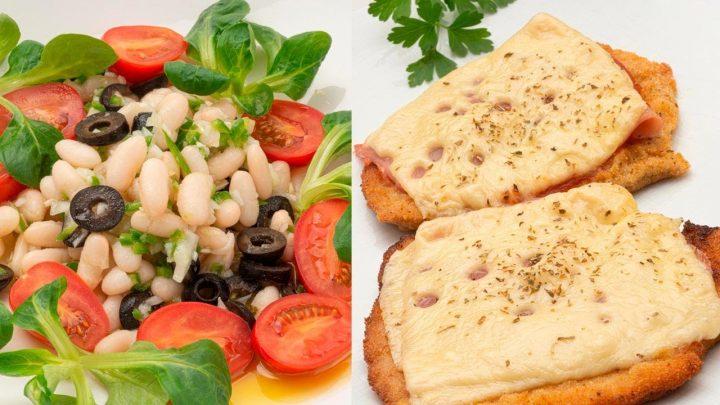 Ensalada de alubias blancas con tomatitos - Milanesa de redondo a la napolitana - Cocina Abierta