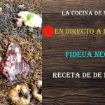 Fideua negra de calamares y gambones, receta de mi libro