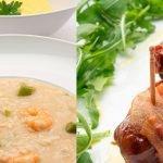 Arroz caldoso de espárragos y langostinos - Bocados crujientes de dátil - Cocina Abierta