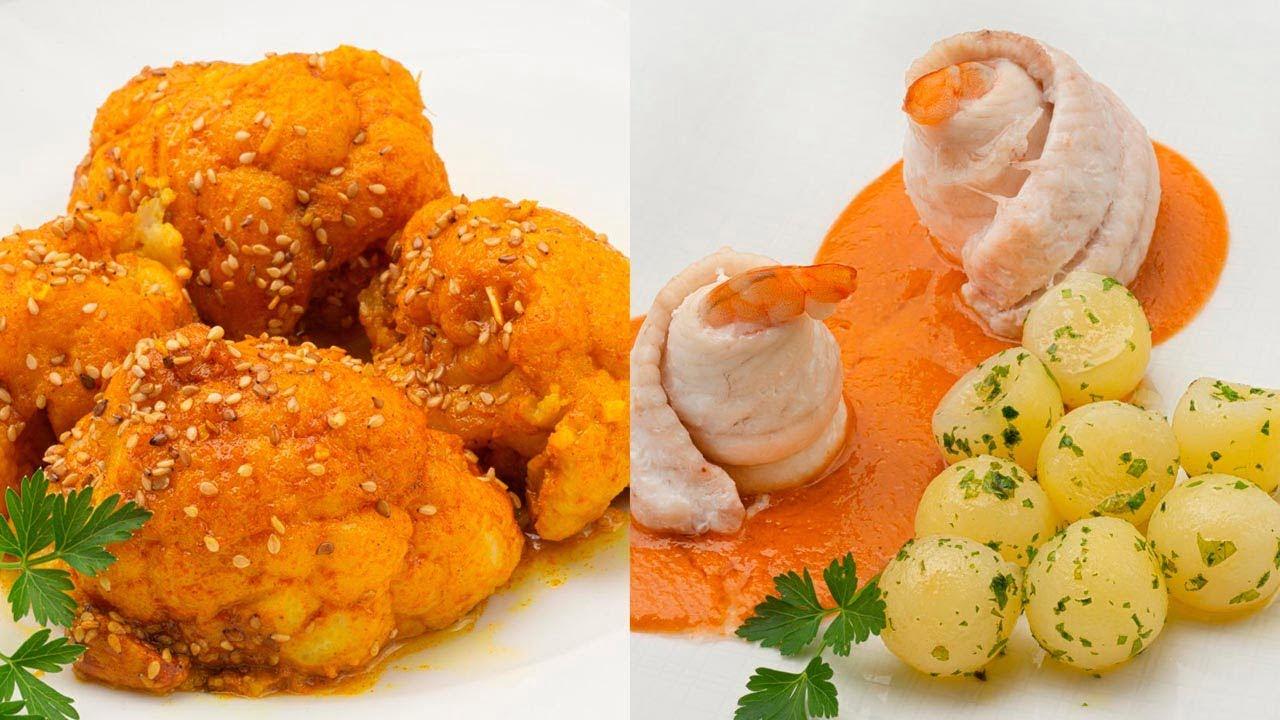 Coliflor con cúrcuma y sésamo - Popietas de lenguado con salsa de langostinos - Cocina Abierta