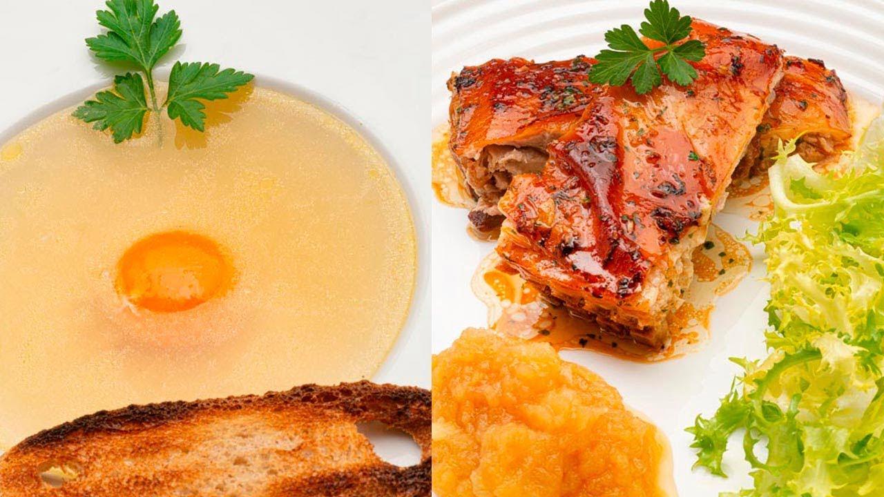 Consomé a la Reina - Cochinillo asado con puré de manzana - Cocina Abierta de Karlos Arguiñano