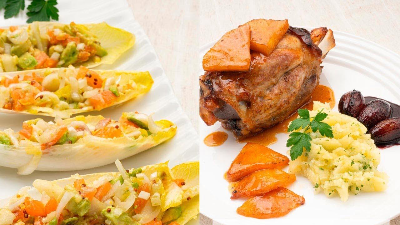 Endibias con salmón, pera y aguacate - Codillo con piña y puré de patatas - Cocina Abierta