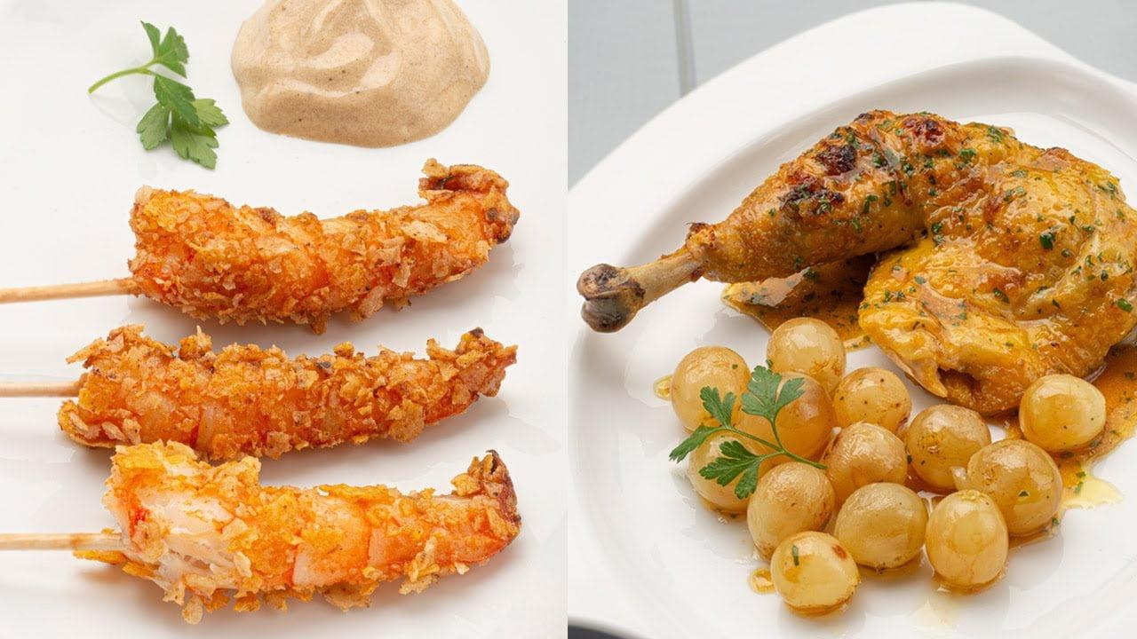Langostinos crujientes con mahonesa - Pollo asado con uvas - Cocina Abierta de Karlos Arguiñano
