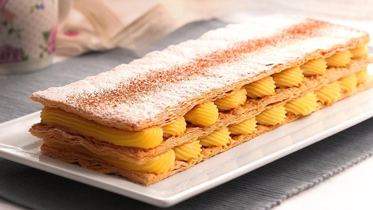 Milhojas de Crema Pastelera muy Fácil y Delicioso