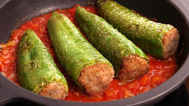 Pimientos Verdes Fritos rellenos de Carne | Receta (sin horno) muy fácil y deliciosa