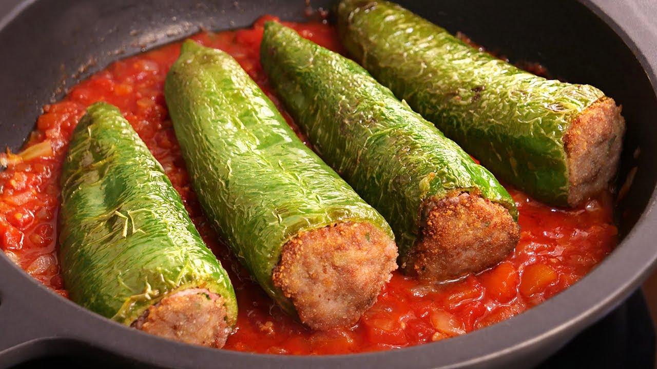 Pimientos Verdes Fritos rellenos de Carne   Receta (sin horno) muy fácil y deliciosa