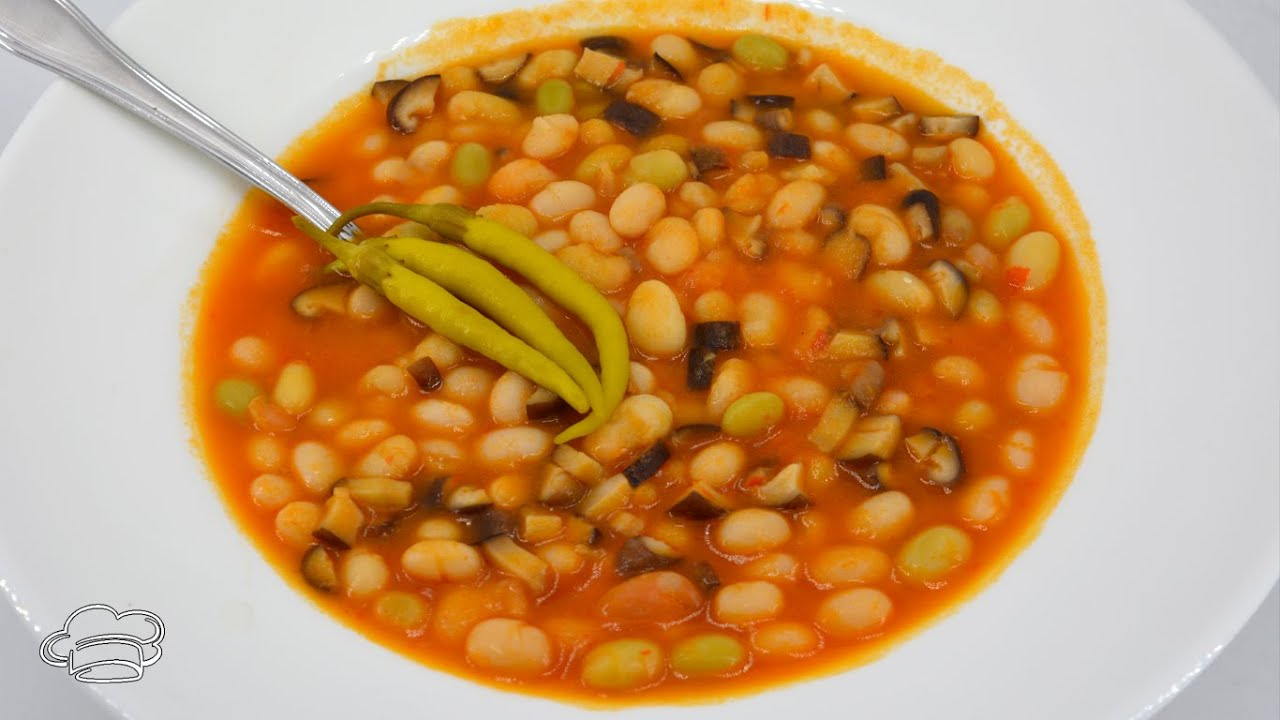 Potaje de alubias pochas con setas para vegetarianos - Recetas para adelgazar