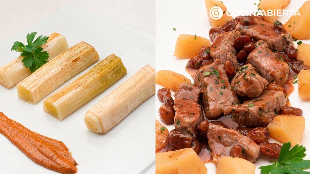 Puerros asados con salsa romesco - Cerdo salteado con salsa de Oporto - Cocina Abierta