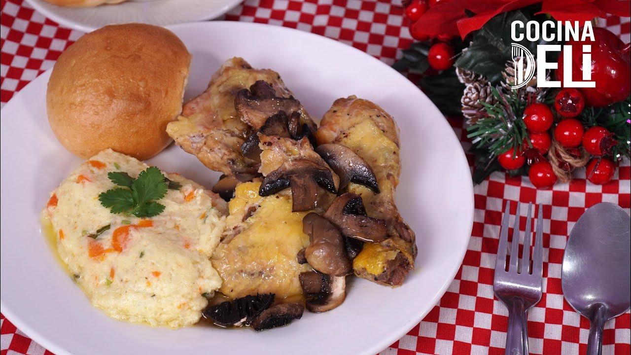 """Receta navideña  """"Pollo horneado con champiñones"""" - Cocina Deli"""
