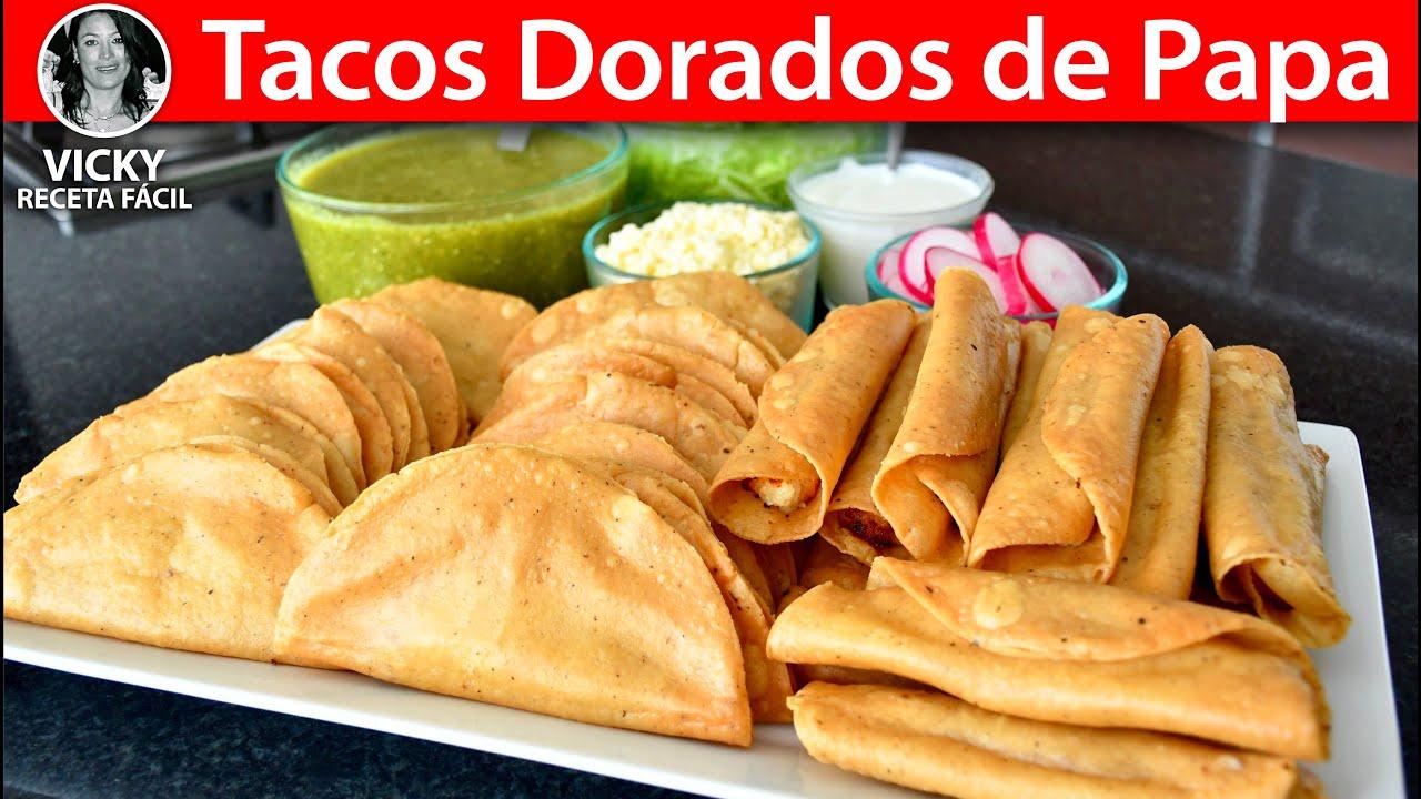 Tacos Dorados de Papa Truco para que no se salga | #VickyRecetaFacil