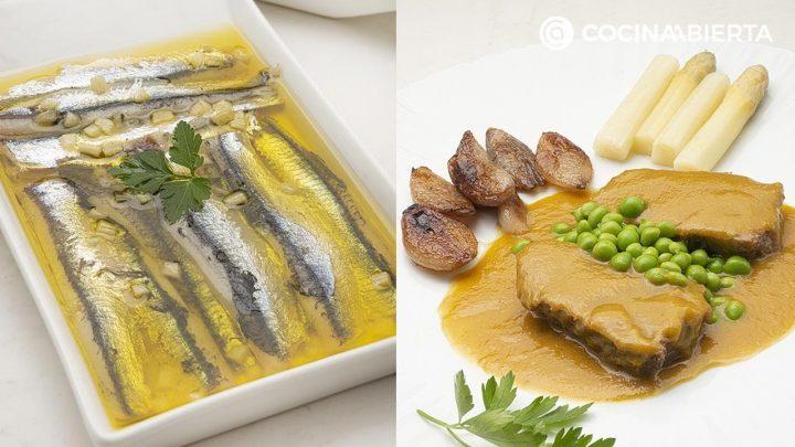 Anchoas marinadas - Carrilleras de ternera con espárragos y guisantes - Cocina Abierta