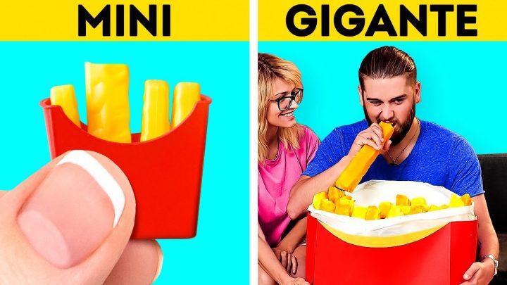 COMIDA MINI VS. GIGANTE || Recetas fascinantes que querrás probar || Comida rápida y postres