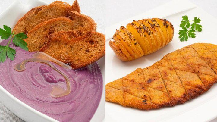 Crema de col lombarda - Escalope de ternera con patatas Hasselback - Cocina Abierta