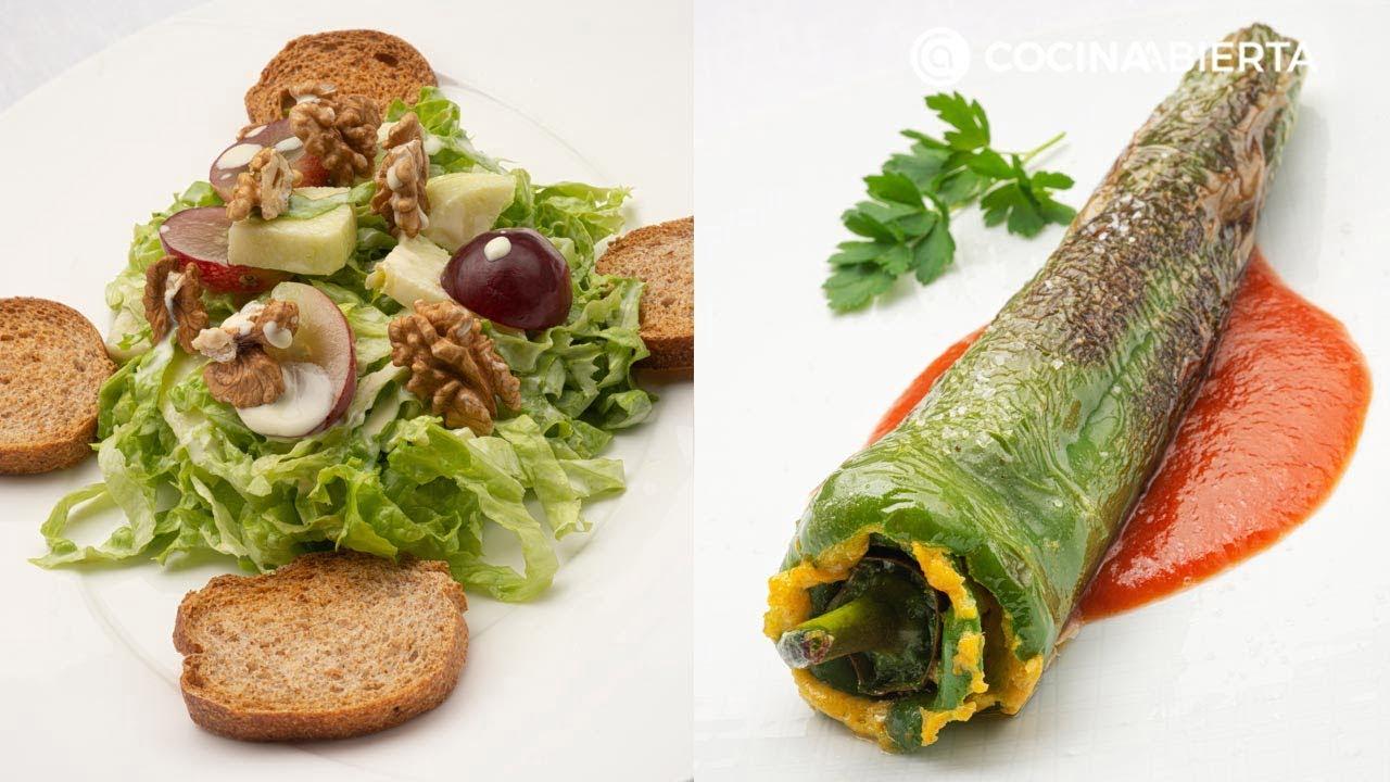Ensalada Waldorf - Pimientos verdes rellenos de tortilla - Cocina Abierta de Karlos Arguiñano
