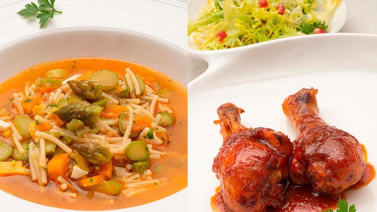 Sopa de espárragos y fideo - Jamoncitos de pollo agridulces - Cocina Abierta de Karlos Arguiñano