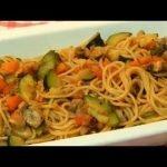 Espaguetis con verdura.Receta facil y cocina rapida