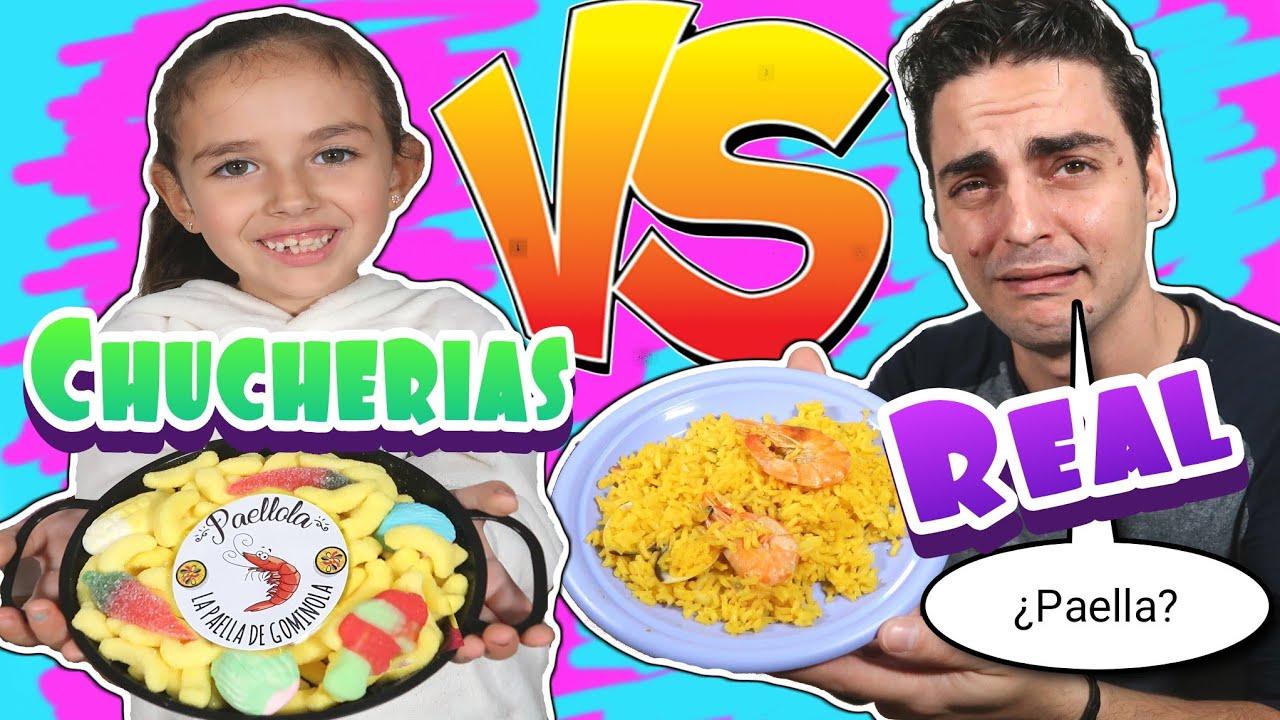 CHUCHERIAS VS REALIDAD!! ¿Una paella de gominola? Zarolakids