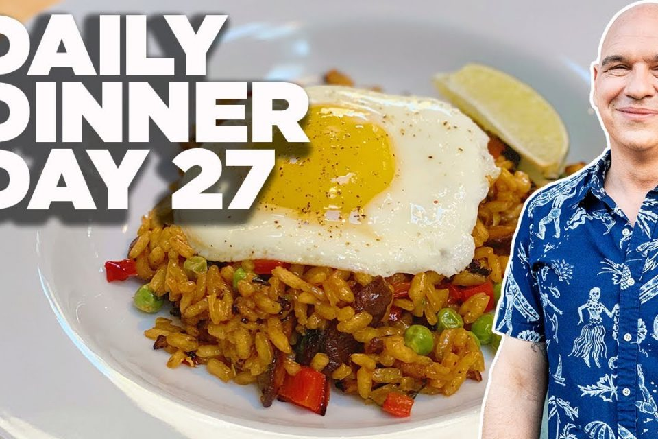 Cocinar junto con Michael Symon |  Paella de verduras a la parrilla |  Cena diaria día 27